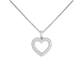 V- Prong Set Heart Pendant 0.50ct