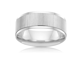 Satin Finished Mens Wedding Ring 6mm Wide-9kt Yellow Gold