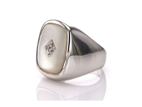 Mother Of Pearl CZ Ring  Ring